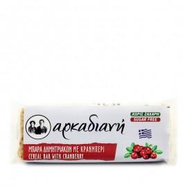 Μπάρα δημητριακών χωρίς ζάχαρη, με cranberry 100% φυσική - «Αρκαδιανή» 70γρ