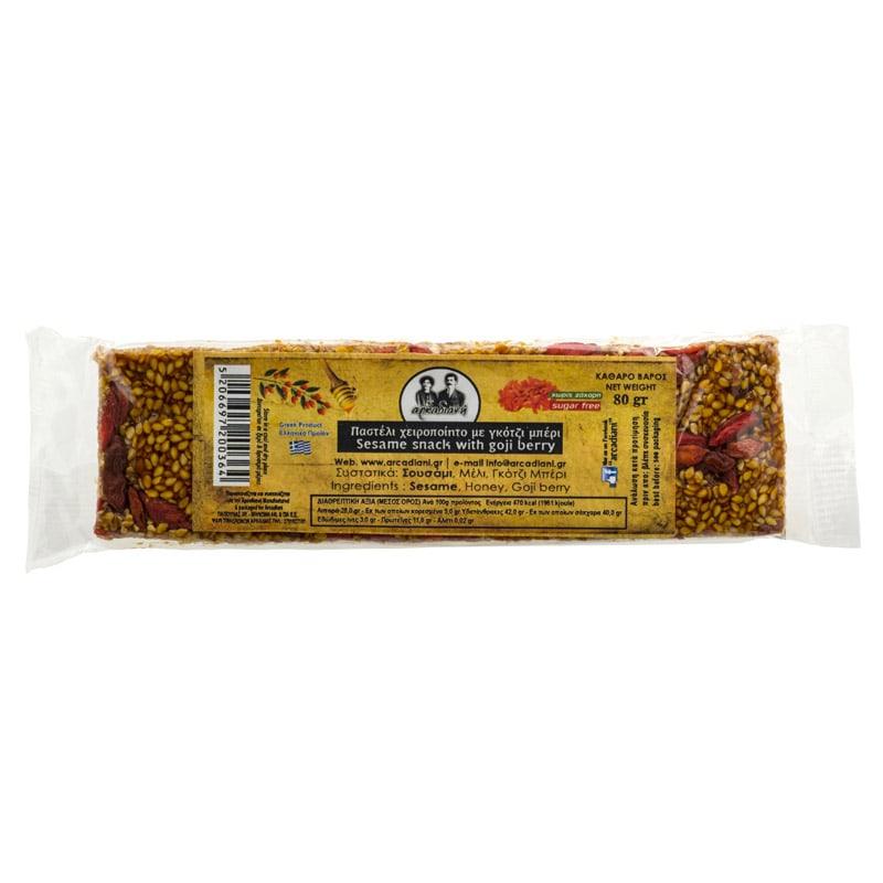 Χειροποίητο Παστέλι με goji berry χωρίς ζάχαρη - «Αρκαδιανή» 80γρ