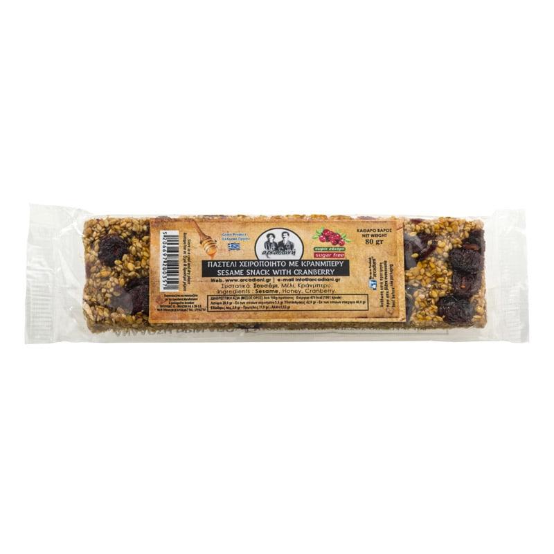Χειροποίητο Παστέλι με cranberry χωρίς ζάχαρη - «Αρκαδιανή» 80γρ