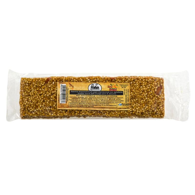 Χειροποίητο Παστέλι με χυμό πορτοκαλιού και αμύγδαλο χωρίς ζάχαρη - «Αρκαδιανή» 80γρ