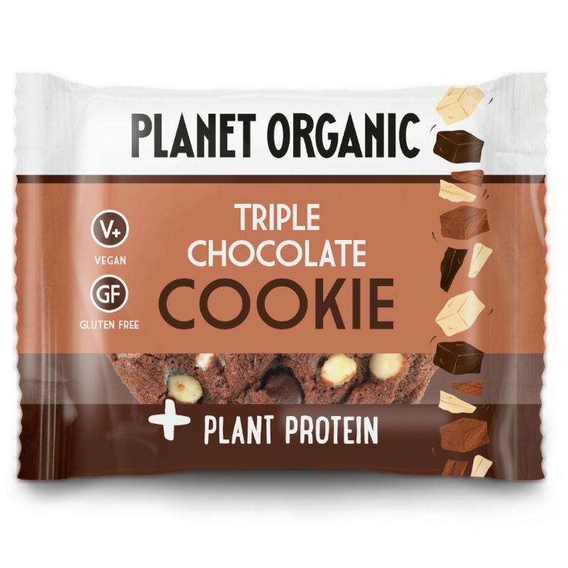 Βιολογικό Μπισκότο με τριπλή Σοκολάτα & φυτική πρωτεΐνη, χωρίς λευκή ζάχαρη, χωρίς γλουτένη «Planet Organic» 50γρ VEGAN