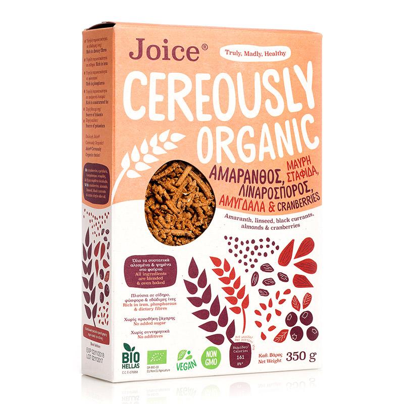 Βιολογικά Δημητριακά με Αμάρανθο, Σταφίδα Κορίνθου, Λιναρόσπορο, Αμύγδαλα & Blueberries «Joice Foods» 350γρ