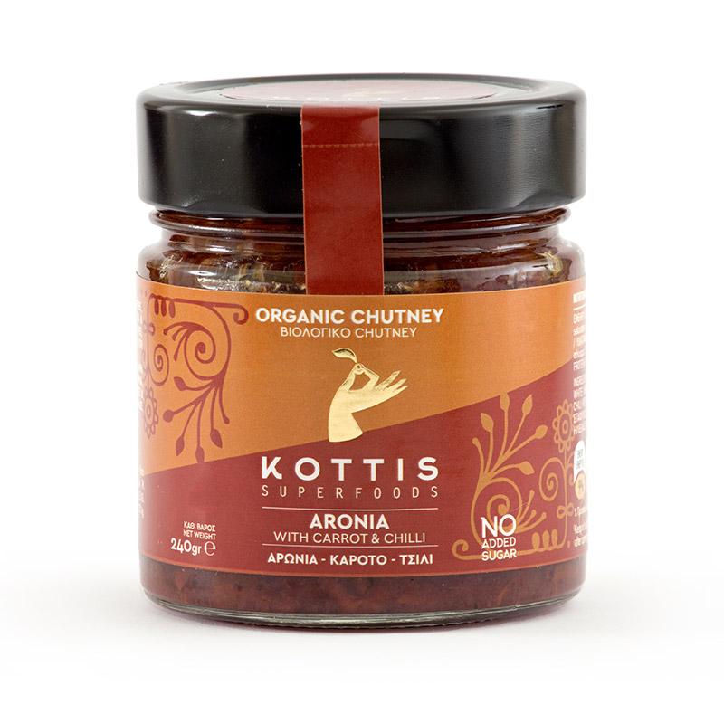 Βιολογικό Chutney με Αρώνια, Chilli και Καρότα, χωρίς Ζάχαρη, χωρίς Γλουτένη «KOTTIS SUPERFOODS» 240γρ