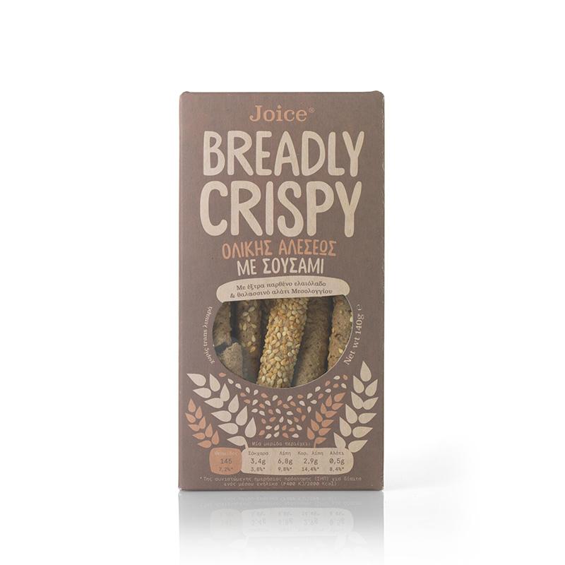 Κριτσίνια ολικής άλεσης  με σουσάμι «Breadly Crispy Joice Foods» 140γρ