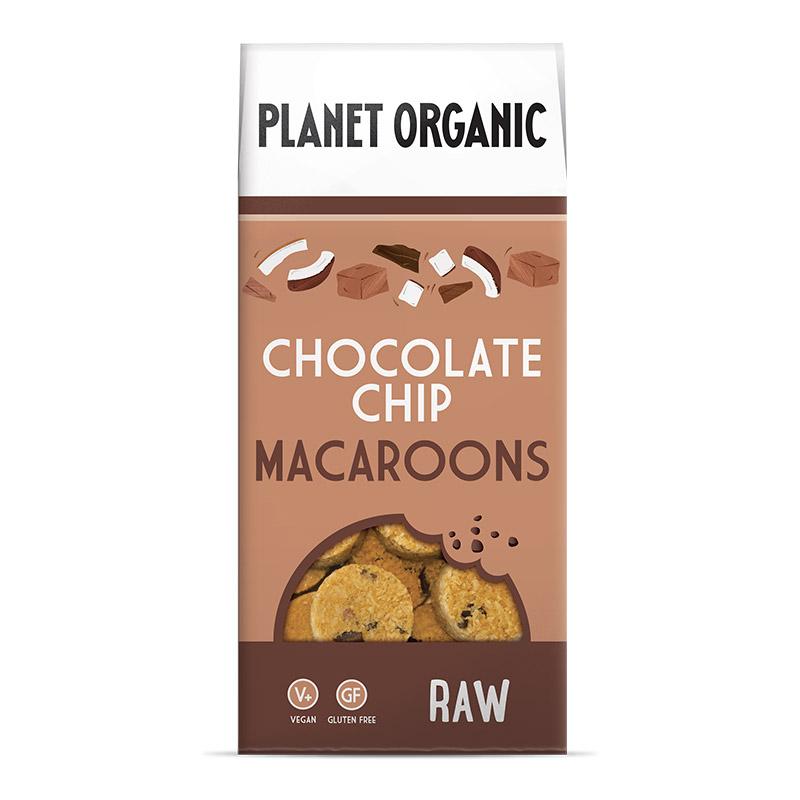 Βιολογικά Macaroons χωρίς γλουτένη με κομμάτια μαύρης Σοκολάτας «Planet Organic» 90γρ