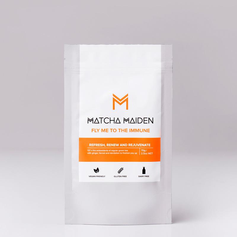 Fly Me to the Immune - Matcha Maiden Blend - Αντιοξειδωτικό πράσινο Τσάι Matcha με Τζίντζερ, Μάραθο & Πικραλίδα 70γρ